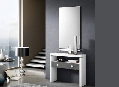 Recibidor taquillón recto de 2 cajones +espejo moderno