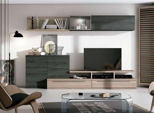 salon actual bajo tv aparador integrado bloque estanteria gris madera 040SA0271