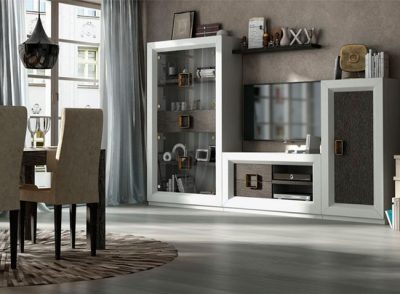 Muebles salón alta calidad compuesto por modular con vitrina alta de cristal
