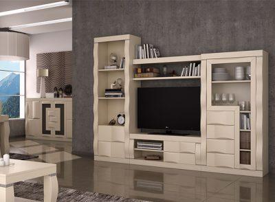 Muebles salón blanco roto diseño moderno, ondulado y compacto