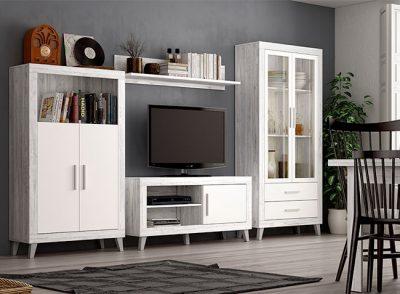Muebles salón comedor con patas estilo nórdico vintage compuesto por mesa TV, librería y vitrina con cajones