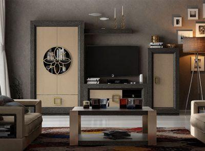 Salón contemporáneo con librerías y mueble TV con detalles metálicos