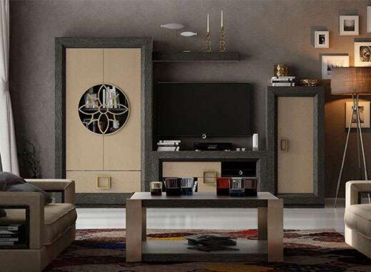 salon librerias contemporaneo mueble tv detalles metalicos 295SA0091