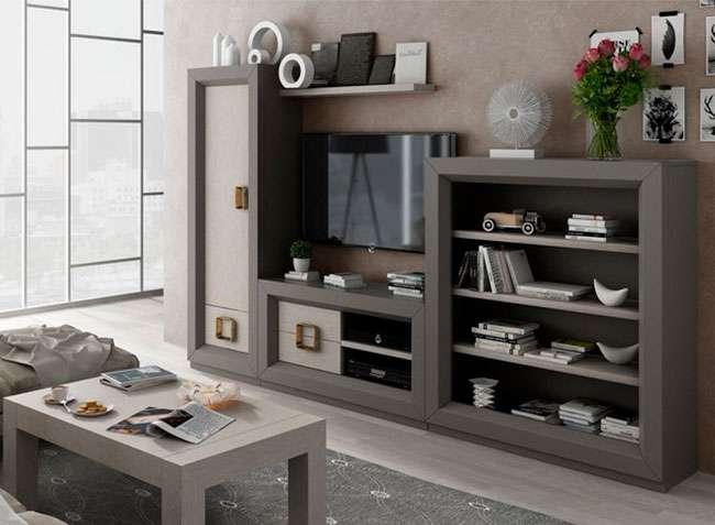 Muebles Salón Con Módulo Para Televisión Armario Y Estanterías Estilo Contemporáneo