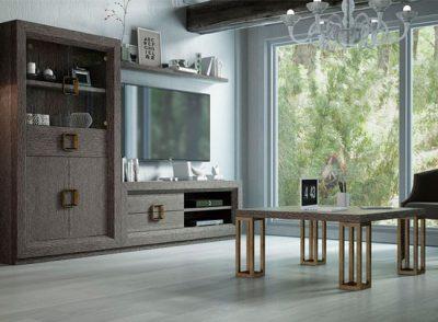 Muebles salón diseño moderno con mesa TV + armario vitrina + estantería y tiradores metalizados