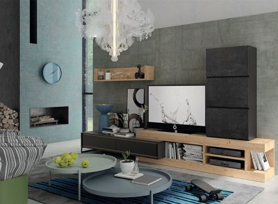 Salón innovador compuesto por módulos apilables en color madera y gris oscuro