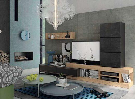 salon modulos apilables color madera y gris oscuro innovador 112SA0141