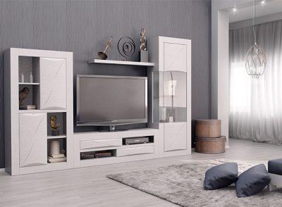 Muebles salón moderno blanco de composición modular