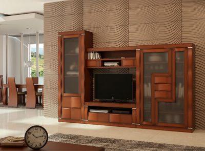 Mueble salón moderno y funcional  aspecto compacto con formas onduladas en color roble oscuro
