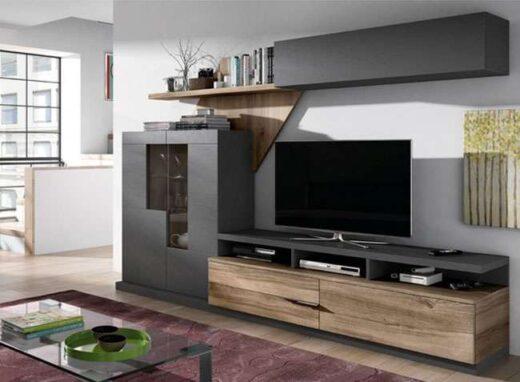 salon original moderno muebles oscuros con almacenamiento 002SA0121