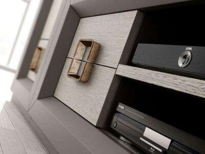 Muebles salón con módulo para televisión, armario y estanterías estilo contemporáneo