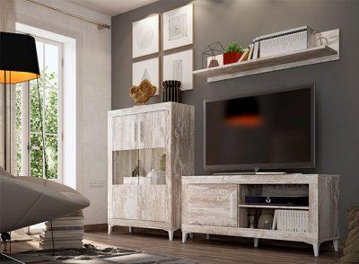 Muebles de salón con módulo TV, estante de colgar y armario estilo nordico en color vintage