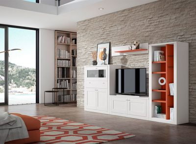 Muebles de salón en color naranja y blanco