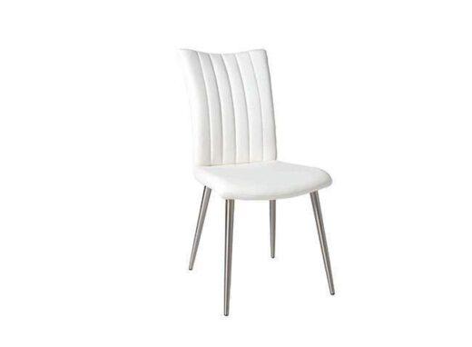 silla blanco 4 patas acero inoxidable acolchada lineas verticales salon 612SI0621