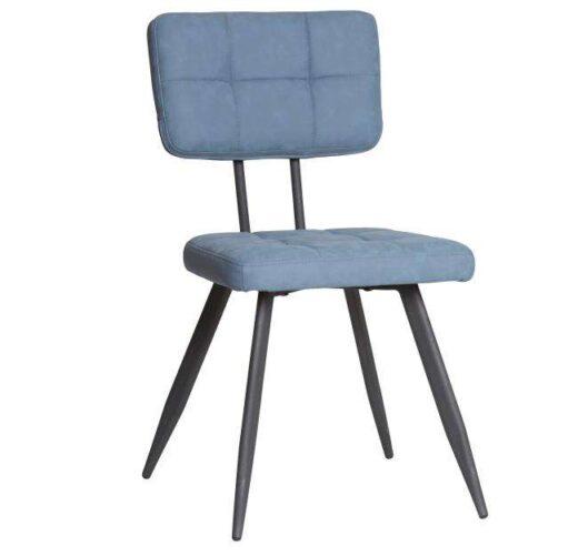 silla azul americana retro vintage piel sintetica patas metal 612SI0337