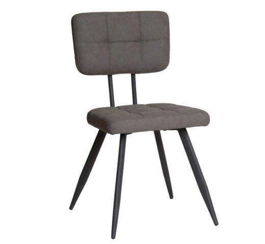 silla gris americana retro vintage piel sintetica patas metal 612SI0334