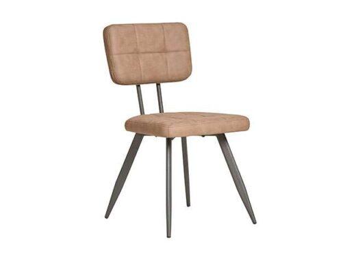 silla americana retro vintage piel sintetica patas metal marron 612SI0332