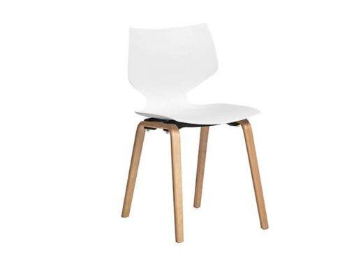 silla blanca asiento polipropileno una pieza 4 patas madera 612SI0011