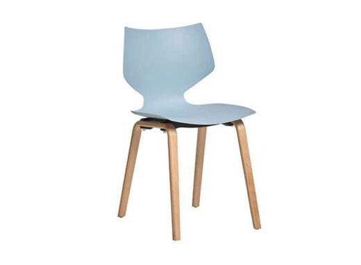 silla azul asiento una pieza polipropileno 4 patas madera haya 612SI0012