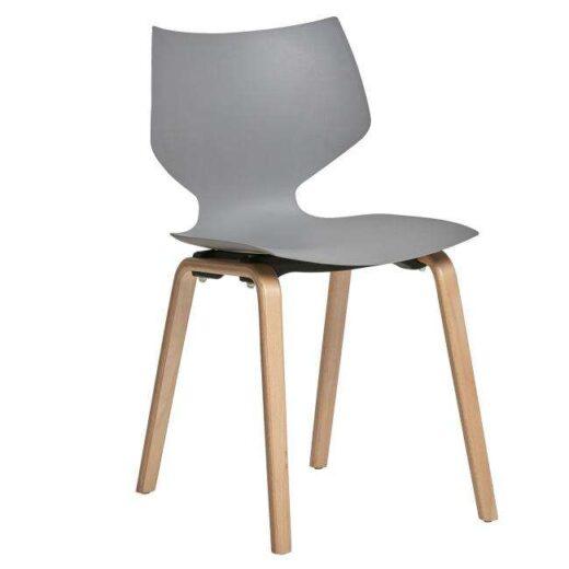 silla gris asiento polipropileno una pieza 4 patas madera haya 612SI0013