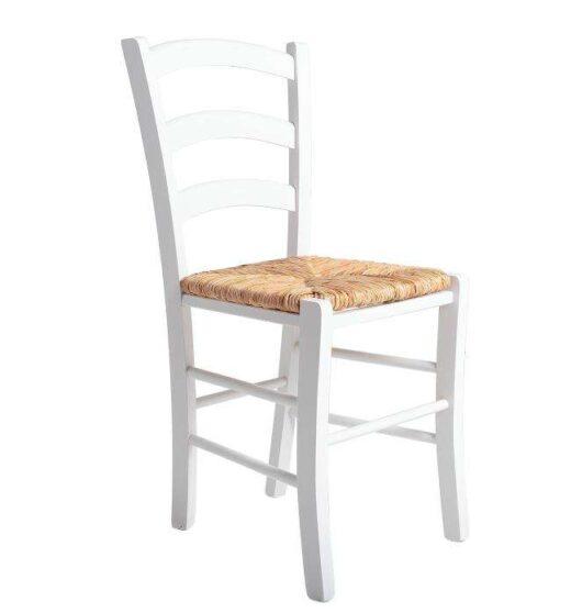 silla rustica blanca madera y asiento enea 612SI0113