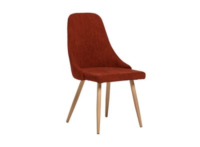 Silla de comedor con asiento curvo tapizado y 4 patas de imitación en roble (Varios colores)