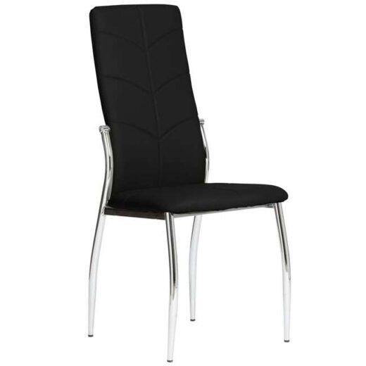 silla negro comedor respaldo alto piel moderna 612SI0553