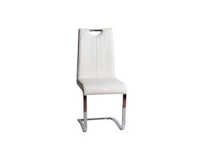 Silla cómoda y moderna para salón comedor mullida con pata voladiza de acero cromado.