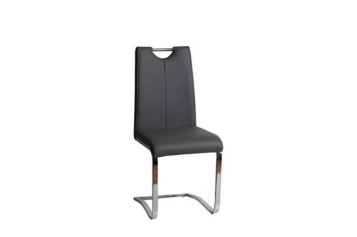 silla gris antracita comoda moderna salon comedor mullida pata voladiza acero cromado 612SI0713