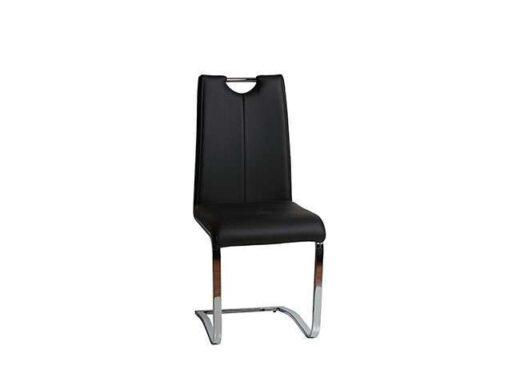 silla negro comoda moderna salon comedor mullida pata voladiza acero cromado 612SI0711