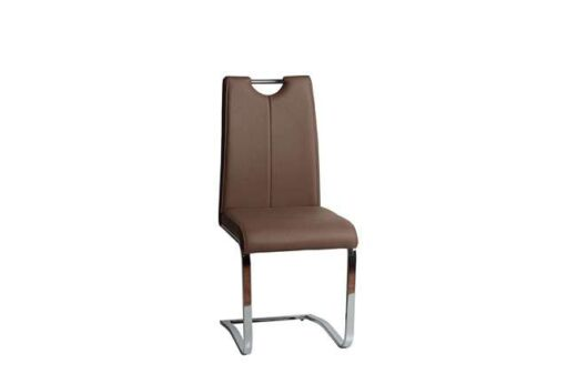silla taupe comoda moderna salon comedor mullida pata voladiza acero cromado 612SI0714