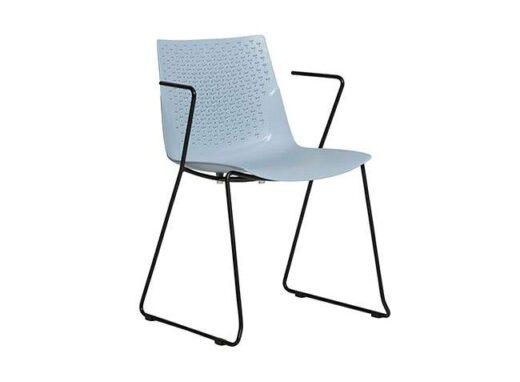 silla de polipropileno azul patas y brazos metal minimalista azul 612SI0832
