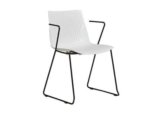 silla de polipropileno blanca patas y brazos metal minimalista 612SI0831
