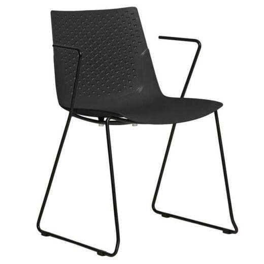 silla de polipropileno negra patas y brazos metal minimalista 612SI0833