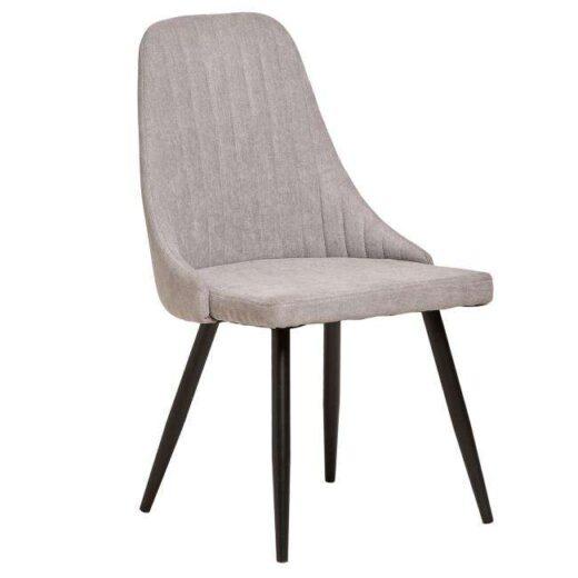 silla gris elegante tela patas metalicas negras salon comedor 612SI0163