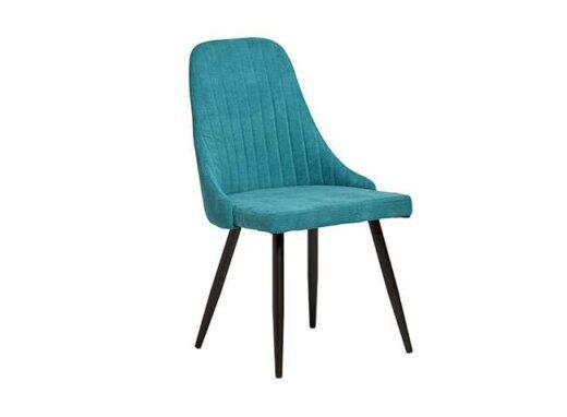 silla turquesa elegante tela patas metalicas negras salon 612SI0162