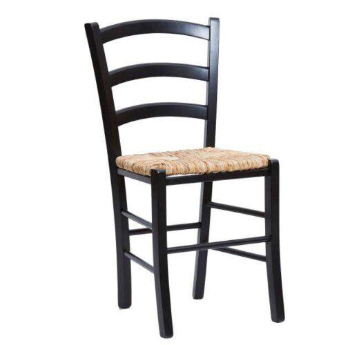 silla rustica enea madera asiento negra 612SI0112