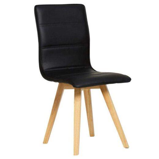 silla azul escandinava acolchada y tapizada en piel colores patas madera 612SI0487