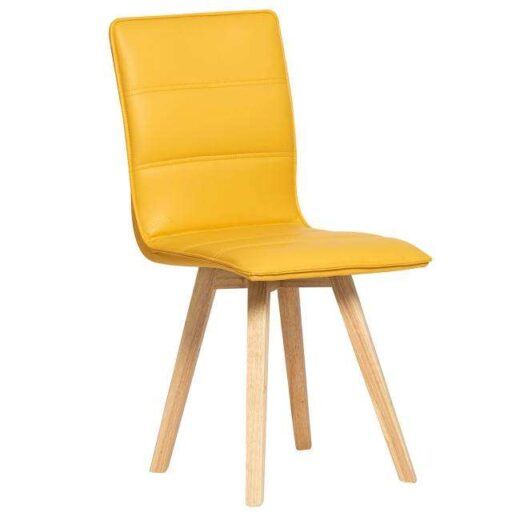 silla mostaza escandinava acolchada tapizada en piel colores patas madera 612SI0483