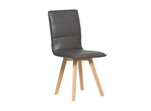 silla negra escandinava acolchada y tapizada en piel colores patas madera 612SI0486