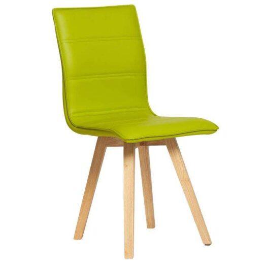 silla pistacho escandinava acolchada y tapizada en piel colores patas madera 612SI0482