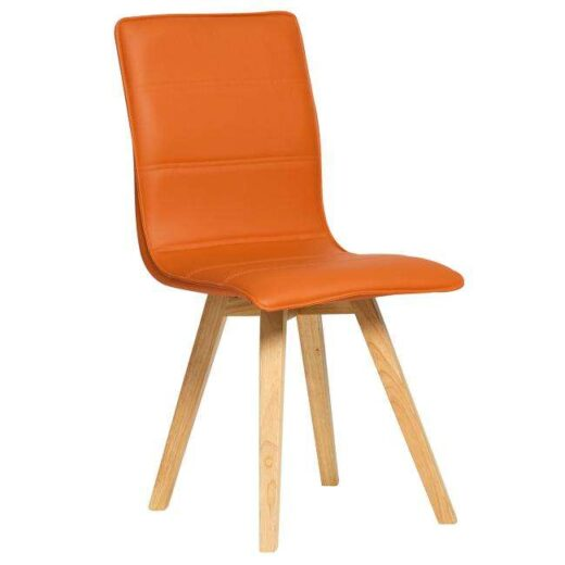 silla teja escandinava acolchada y tapizada en piel colores patas madera 612SI0481