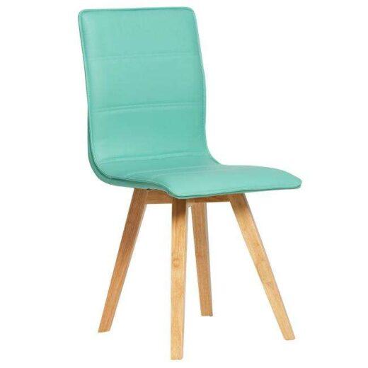 silla turquesa escandinava acolchada y tapizada en piel colores patas madera 612SI0484