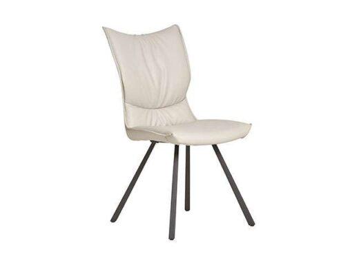 silla crema estilo retro mullida piel patas metalicas 612SI0412