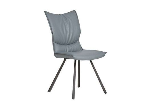 silla gris estilo retro mullida piel patas metalicas 612SI041