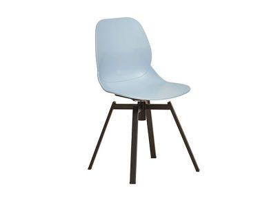Silla giratoria con base fija de 4 patas metálicas negras y asiento de una sola pieza