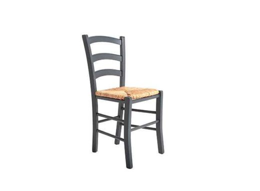 silla rustuca gris antracita madera y asiento enea 612SI0115