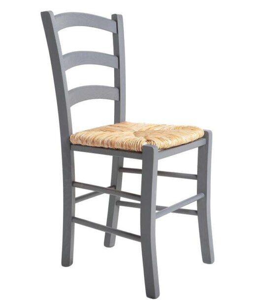 silla rustica gris claro madera y asiento enea 612SI0114