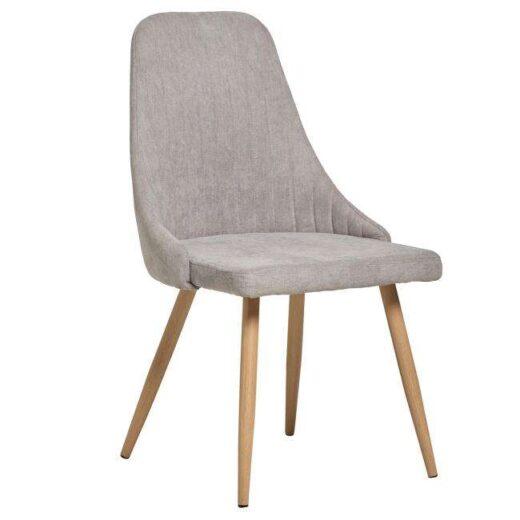 silla comedor gris asiento curvo tapizado patas roble 612SI0203
