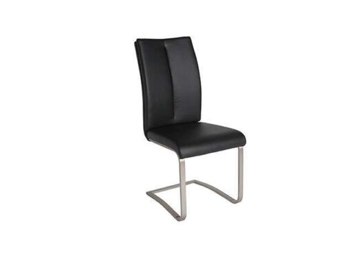 silla moderna acolchado negro piel pata voladiza 612SI0651